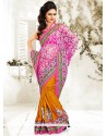 Pink Net Half And Half Saree