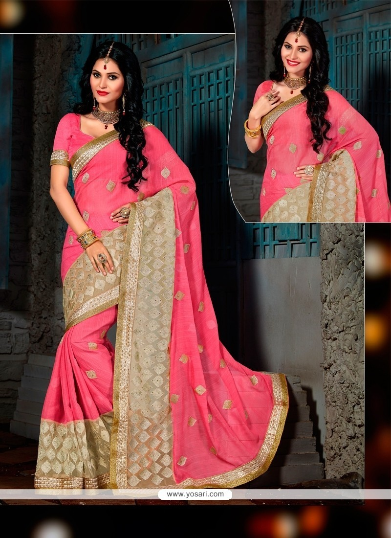 Charming Hot Pink Patch Border Work Faux Chiffon Designer Saree