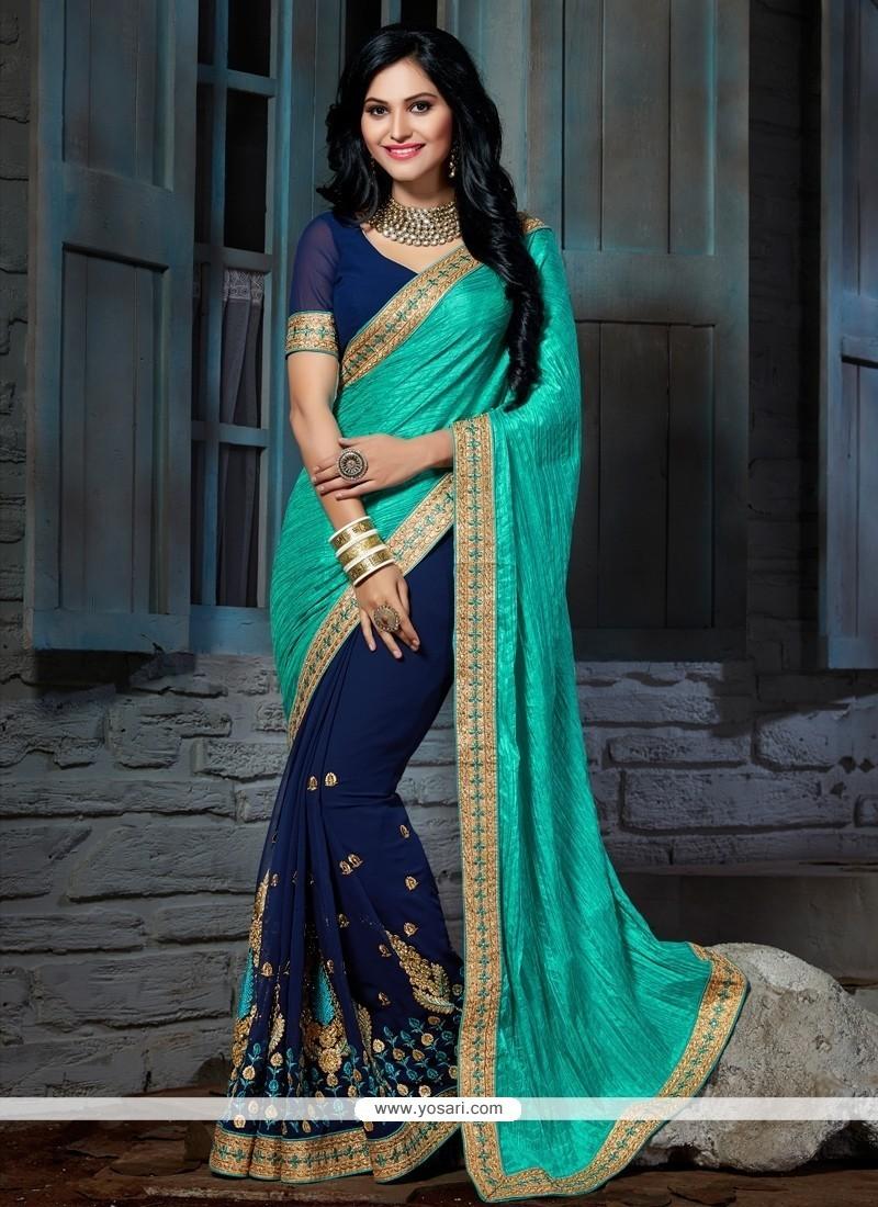 Fashionable Faux Chiffon Navy Blue Embroidered Work Designer Saree