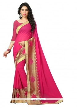 Affectionate Hot Pink Patch Border Work Designer Saree