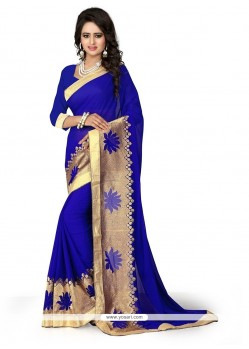 Innovative Patch Border Work Blue Georgette Designer Saree