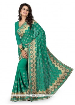 Congenial Georgette Sea Green Classic Designer Saree