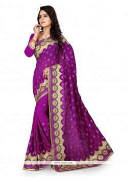 Swanky Georgette Patch Border Work Classic Designer Saree
