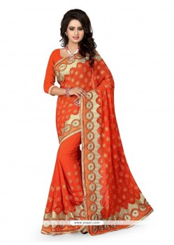 Wonderous Orange Classic Designer Saree
