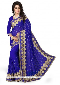 Astonishing Embroidered Work Blue Classic Designer Saree
