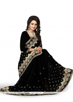 Girlish Embroidered Work Georgette Classic Designer Saree