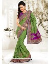 Magnetic Green Manipuri Silk Saree
