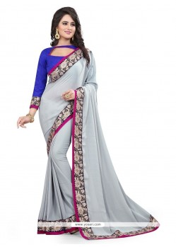 Imposing Faux Chiffon Grey Designer Saree