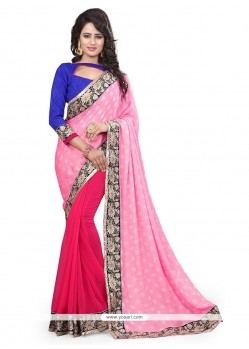 Lovable Hot Pink Embroidered Work Designer Saree