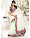 White Faux Chiffon Saree