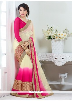 Cream And Hot Pink Patch Border Work Faux Chiffon Designer Saree