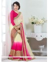 Cream And Hot Pink Patch Border Work Faux Chiffon Designer Saree