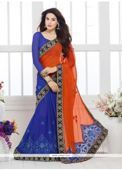 Sightly Blue Patch Border Work Faux Chiffon Designer Saree