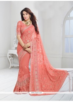 Sumptuous Patch Border Work Faux Chiffon Designer Saree
