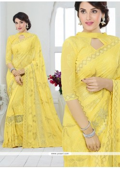 Alluring Faux Chiffon Yellow Patch Border Work Designer Saree