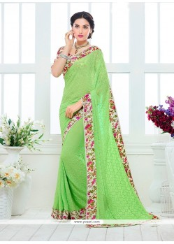 Print Faux Chiffon Designer Saree In Green