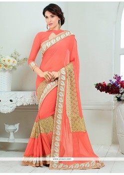 Pristine Faux Chiffon Pink Embroidered Work Designer Saree
