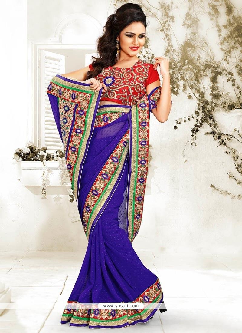 Luxurious Blue Jacquard Saree
