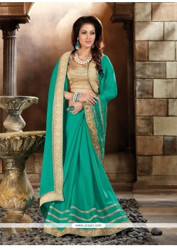 Flattering Art Silk Patch Border Work Classic Designer Saree
