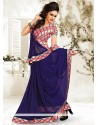 Lustrous Navy Blue Chiffon Saree