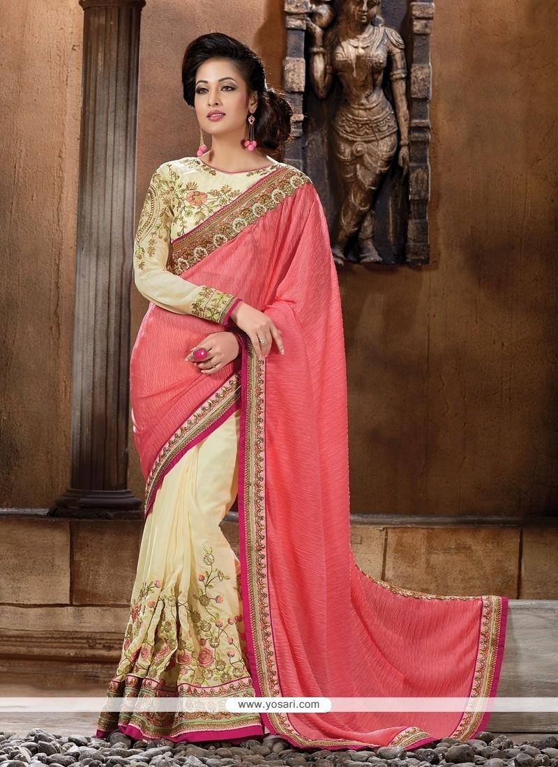 Intrinsic Cream Classic Designer Saree