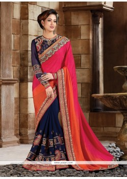 Impressive Navy Blue Patch Border Work Georgette Classic Designer Saree