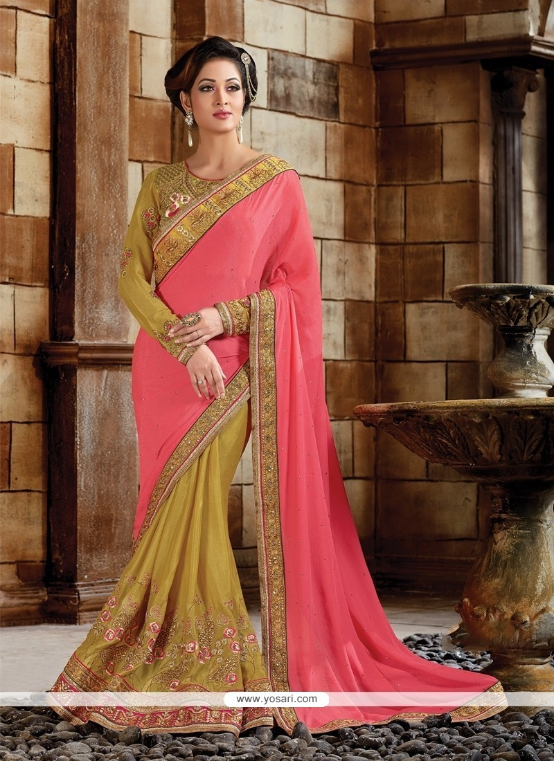 447e7a4a2ba Shop online Floral Hot Pink Embroidered Work Classic Designer Saree