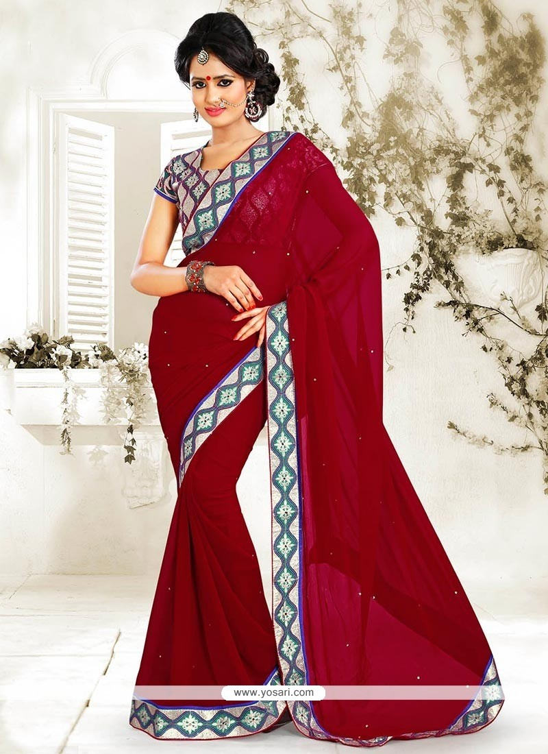 Red Faux Chiffon Saree