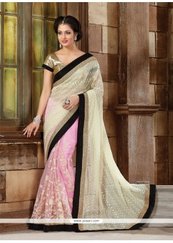 Sightly Pink Net Classic Designer Saree