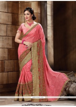 Pristine Pink Embroidered Work Bembarg Classic Designer Saree