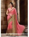 Pristine Pink Embroidered Work Bembarg Classic Designer Saree
