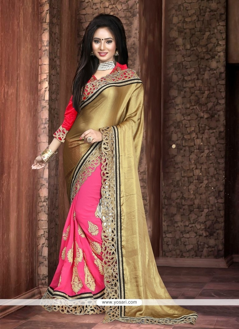 Hot Pink Embroidered Work Georgette Classic Designer Saree