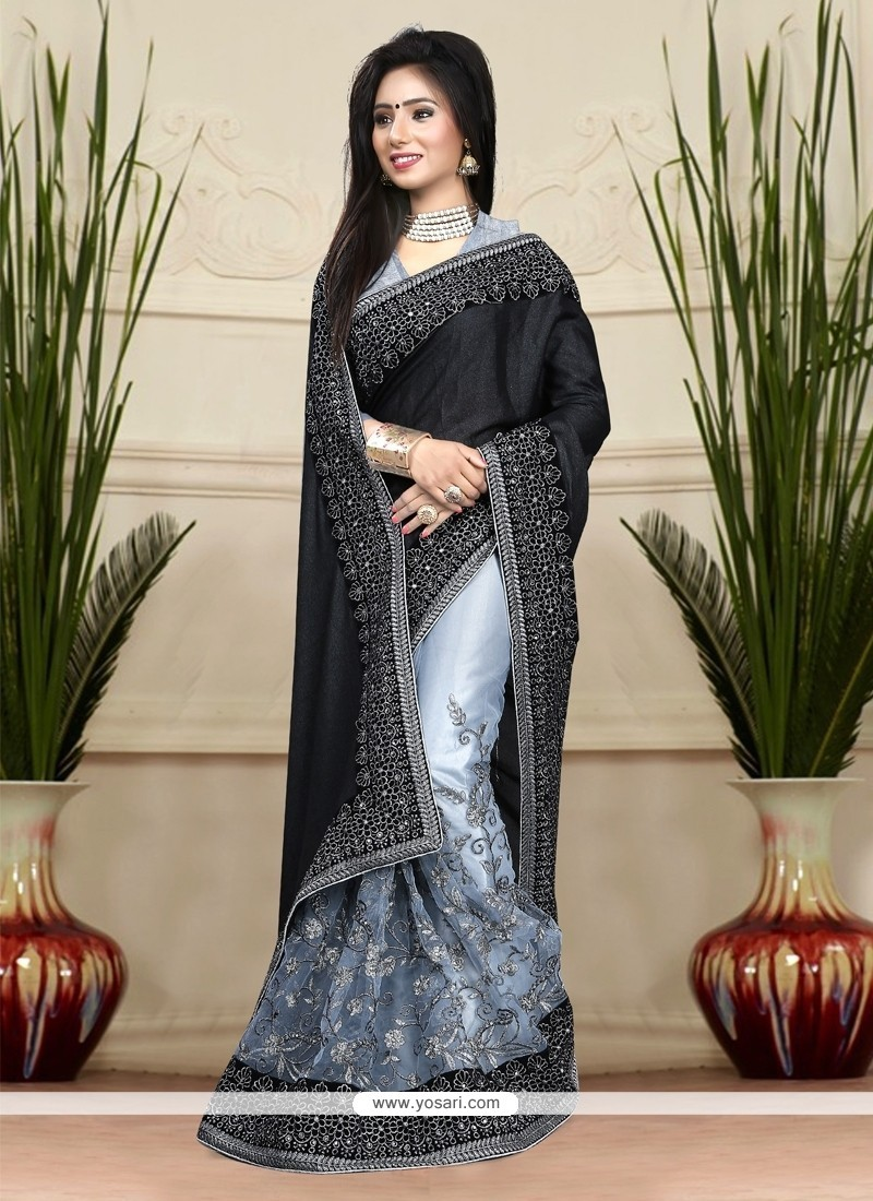 Graceful Embroidered Work Black And Grey Net Classic Designer Saree
