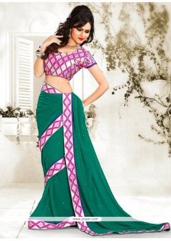 Green Chiffon Casual Saree