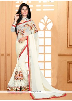 Off White Embroidered Work Georgette Classic Designer Saree