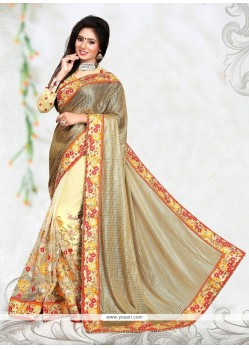 Dignified Patch Border Work Cream Classic Designer Saree