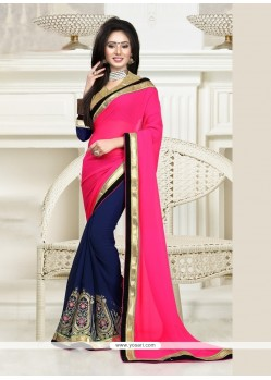 Festal Georgette Hot Pink And Navy Blue Patch Border Work Classic Designer Saree