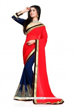 Ideal Georgette Patch Border Work Classic Designer Saree
