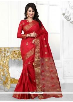 Zesty Red Embroidered Work Designer Saree