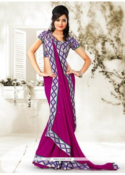 Incredible Magenta Faux Chiffon Saree