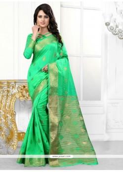 Dainty Sea Green Patch Border Work Banarasi Silk Designer Saree