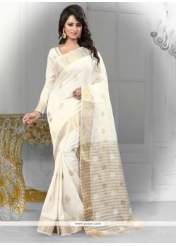 Sensible Banarasi Silk Off White Designer Saree
