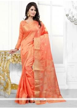 Phenomenal Banarasi Silk Orange Designer Saree