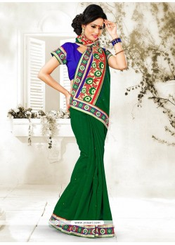 Imperial Green Bhagalpuri Silk Saree