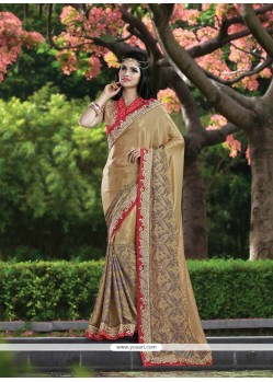 Specialised Chiffon Satin Beige Patch Border Work Classic Designer Saree