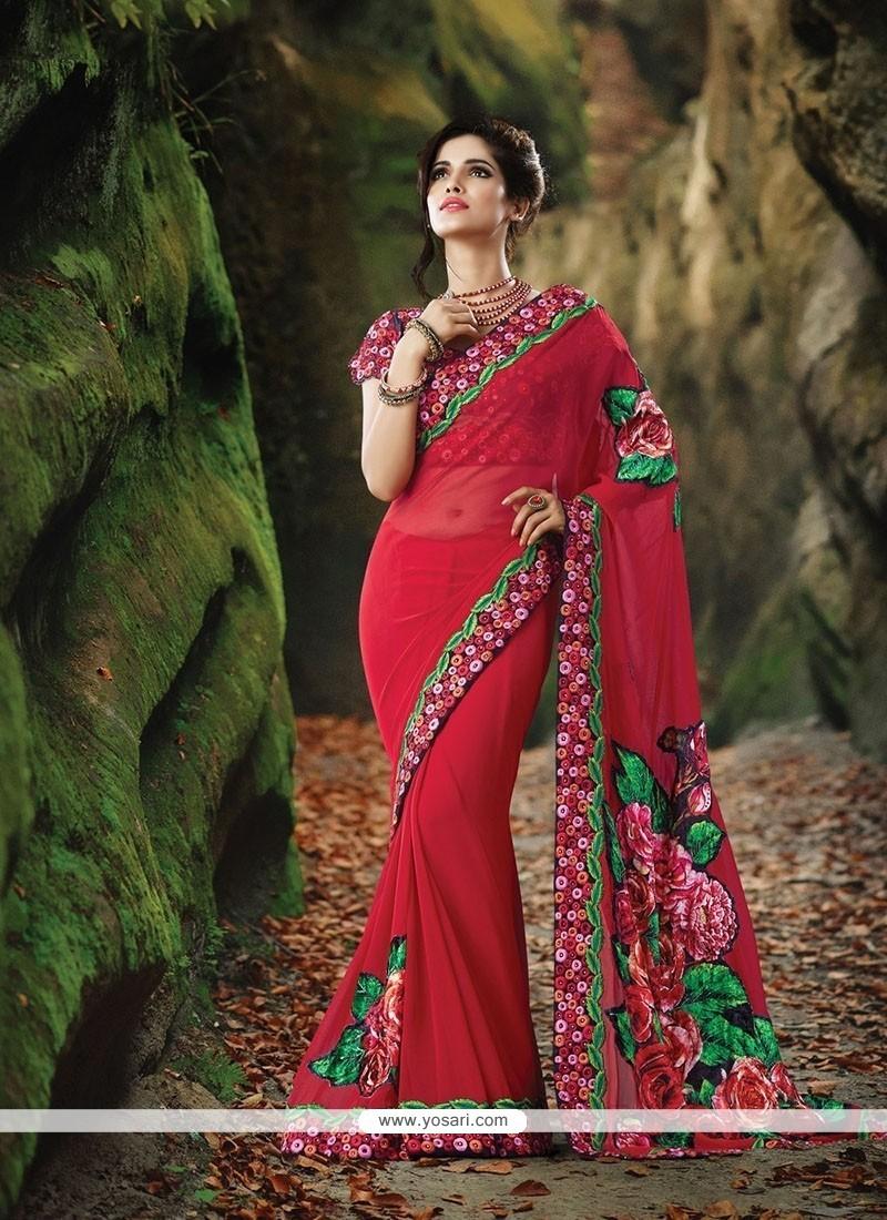 Alluring Velvet Patch Border Work Classic Designer Saree