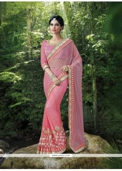 Celestial Lycra Pink Classic Designer Saree