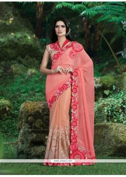 Trendy Georgette Pink Patch Border Work Classic Designer Saree