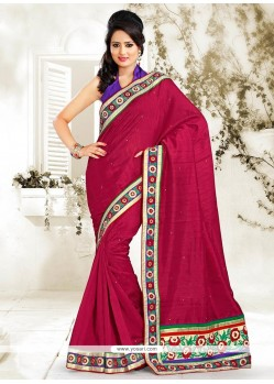 Glowing Maroon Bhagalpuri Silk Saree