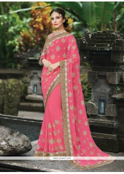 Glorious Embroidered Work Pink Classic Designer Saree